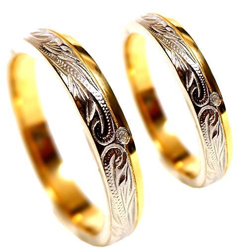 ペアリング 刻印無料 ペアハワイアンジュエリー リング 指輪 スクロール 石 ジルコニア サージカルステンレス 花 写真フレーム フラワー レディース:5号 メンズ:15号