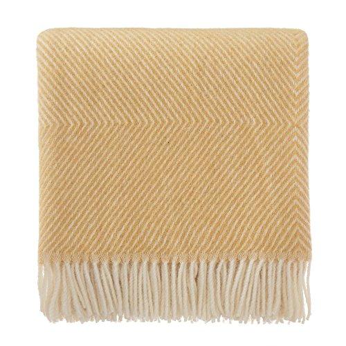 URBANARA 220x240 cm Wolldecke 'Gotland' Senfgelb/Creme — 100prozent Reine skandinavische Wolle — Perfekt als Überwurf, Plaid oder Kuscheldecke für Sofa & Bett — Warme Decke aus Schurwolle mit Fransen