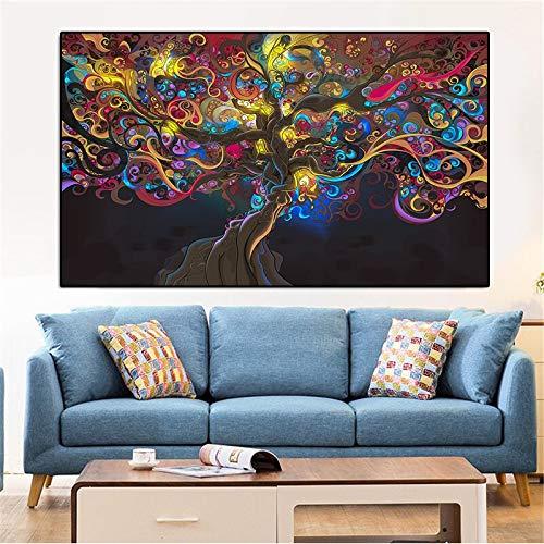 IHlXH Psychedelic LSD Tree Light Poster und Drucke Leinwandbilder an der Wand Bilder für Wohnzimmer Wohnkultur Kein gerahmter A3 60x90 ohne Rahmen
