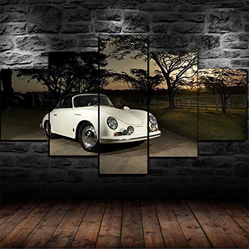 KOPASD 5 Panel Porsch 356 Classic Sports Car Bilder leinwand 100x55cm Panorama Bilder Kunstdruck Poster Wanddekoration Design Wand Bild (Rahmen)