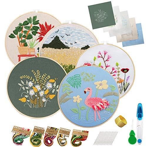 Embroidery Kit Stickset für Anfänger, 5 Sets Stickerei Set mit Mustern und Anleitungen, Sticken Set Starter Kit mit Muster, 2 Stickrahmen, Stickgarn und Werkzeuge