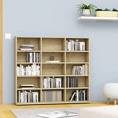 vidaXL Organizer Cubes, 15 Open Shelf, Modern Bookcase, LP Record Album Storage Shelf, Rack, Filing Cabinet, CD Cabinet for Office, Study, Organisation, Bedroom, 40.6x6.3x35.2 inch Chipboard