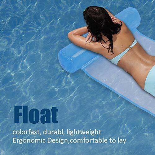 Respaldo portátil ergonómico y diseño de reposapiernas fácil de inflar/desinflar, colchonetas flotantes, Tumbona de Piscina, Juegos de Agua para Nadar