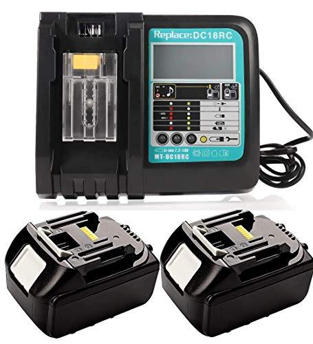 2 batterie di ricambio da 18 V, 5,0 Ah, per Makita BL1850 BL1840 BL1830 LXT400 con caricatore 3A, ricambio DC18RA DC18RC 3A 10,8 V ~ 18 V