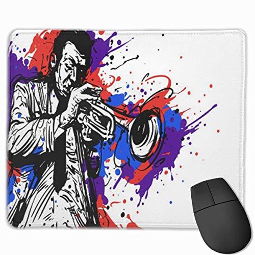Muiskussen, Desk Mousepad, Muiskussens, Muismat Abstract Jazz Trompet Speler met Kleur Spatje voor Artiest Tekenen Muziek Afrikaans
