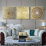 Impresión en lienzo abstracto dorado redondo lienzo pintura carteles nórdicos arte de la pared imágenes geométricas para la decoración del hogar de la sala de estar-40x40cmx3 No Frame