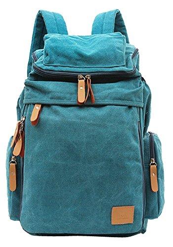 Minetom Herren Damen Unisex Vintage Canvas Rucksack Retro für Outdoor Sports Camping Uni Rucksack Universität (Blau)
