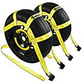 Tow Dolly Basket Straps with Flat Hooks -2 Pack, Tire Bonnet Tire Net Fits Most 15