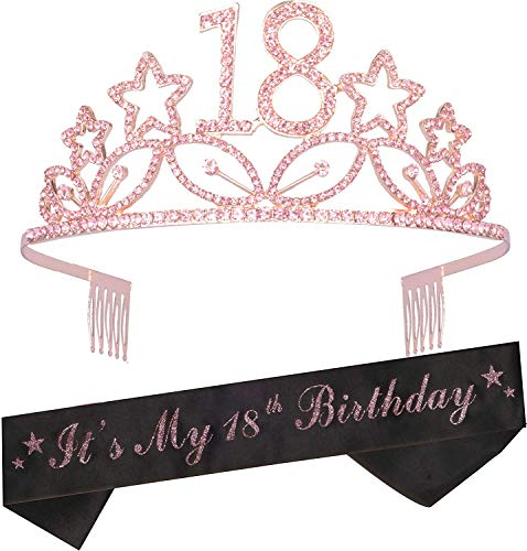 18 Birthday Gifts for Girls,18th Birthday Sash,18th Birthday Tiara Sash,18th Birthday Decorations for Girls,Happy 18th Birthday Sash,18 Birthday Sash and Tiara,18 Birthday Decorations,18 Birthday