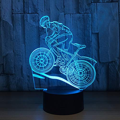 3D Night Light Mountain Bike Cycling Enthusiasts LED Illusion Lamp, Child Lamp, Office Lamp, Mood Lamp, Creative Light, Bedside Lamp, F - Bluetooth Audio Base(5 Color)