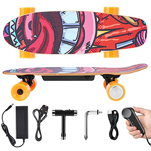Electric Skateboard Electric Skateboard Cruiser with Handheld Remote, 350W Adults Eskateboard, 7 Layers Maple Board, 3 Speed Adjustment Electric Short(Mini) Board, 20km/h Top Speed