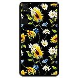 Hapdey Funda Negra para [ Bq Aquaris E6 ] diseño [ Patrón Floral, Flores Multicolores 2 ] Carcasa Silicona Flexible TPU