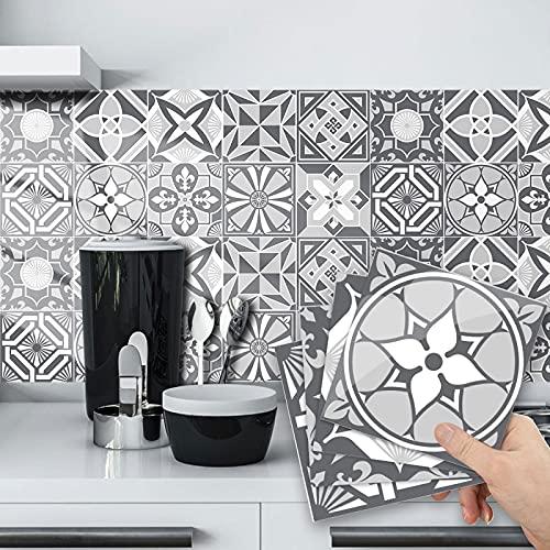 2D kök klistermärken, 20 st. grå kakelklistermärken i köksstorlek badrum kakelklistermärken – tunna 2D-tryckta platta vinylkakelskydd (20 x 20 cm)