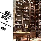 Kit De Hardware De Puerta De La Puerta Del Granero Deslizante 3.3ft-20 Pies, Ladder Rolling Hardware Library Kit De Hardware De La Escalera Deslizante (sin Escalera), Tubo Redondo Pista De Escalera Mó