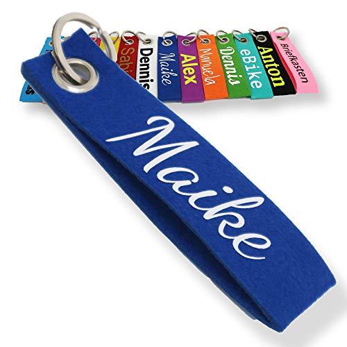 Schlüsselanhänger aus Filz mit Namen, Personalisiertes Schlüsselband Geschenkidee mit Aufschrift oder Wunschtext, Glücksbringer Filzanhänger mit Name, Geburtstag, Weihnachtsgeschenk (Dunkelblau)