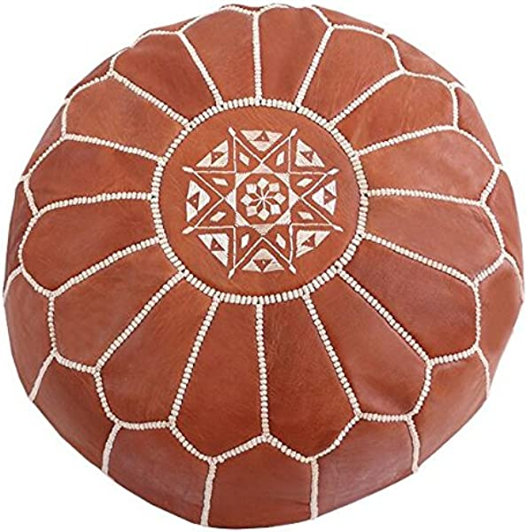 Baba Souk Leather Pouf Tan With Beige Embroidery