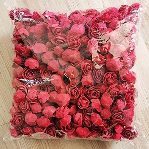 500pcs 3cm Mini Cabezas de Flores de Rosa de Espuma de PE Artificial para la decoración del hogar de la Boda Flores Falsas Hechas a Mano Bola Artesanía Suministros para Fiestas-Vino Tinto
