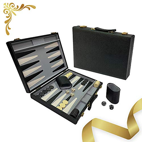 Sun Flair Leatherette Backgammon Set 15 inch, Folding Classic Board Game with Snap Closure, Smart Tactics Premium Best Strategy, Tip Guide Enclosed, Black, 137M-1 Luxury Material