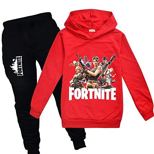 zhaojiexiaodian Jungen Unisex 3D Print Pullover Kinder Jogging Hoodies Sweatshirt Trainingsanzüge Kleidung Outwear Jumper Hip Hop Streetwear Hooded Tops (Rot, 160)
