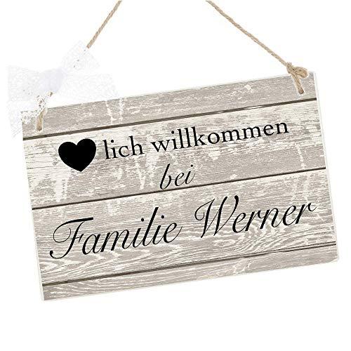 Türschild mit Namen für die Haustür aus Holz - Herzlich Willkommen bei Familie