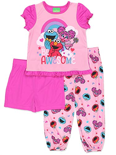 Sesame Street Girls 3 Piece Shorts Pajamas Set (3T, Pink)