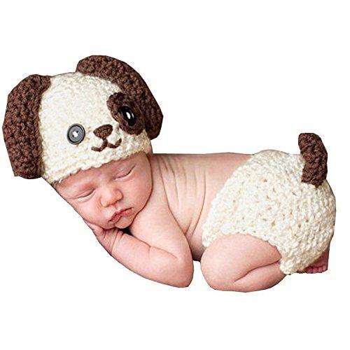 AKAAYUKO Bebé Recién Nacido Hecho A Mano Crochet Foto Fotografía Prop (Perro Sombrero Pañal)