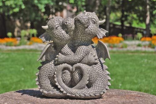 MC Gartenfigur Gartendrache - Modell kuschelnd klein - Fantasy Figur Deko Drache Garten