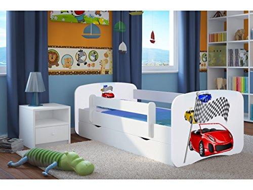 CARELLIA 'Kinderbett Ferrari 80x 180cm mit Barriere Sicherheitsschuhe + Lattenrost + Schubladen + Matratze Offert.–Weiß