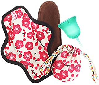 SckoonCup Beginner Choice - Extra Protection - Leak Proof Organic Cotton Reusable Menstrual Pad - Made in The USA Mestrual Cup Harmony Set Size 2 Large