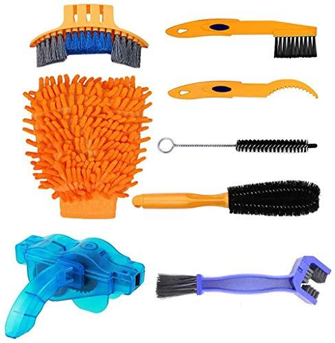 El kit de limpieza de bicicletas de 8 piezas, el kit de cepillo de limpieza de bicicletas, el juego de herramientas de limpieza de bicicletas es adecuado para limpiar todas las bicicletas