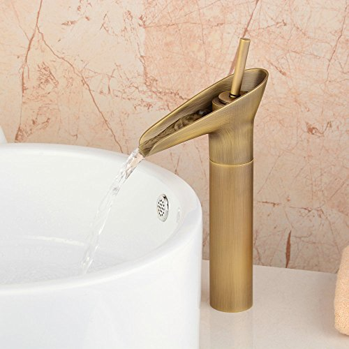 HomeLava Antik Wasserfall Waschtischarmatur Einhebel Mischbatterie Kupfer Armatur Einhandmische Hoch für Bad Waschbecken