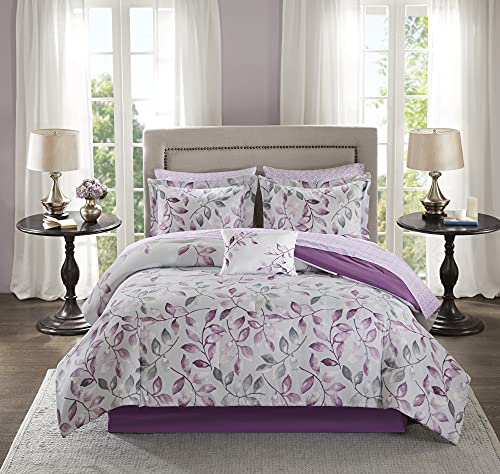 Madison Park Essentials Cozy Bed in A Bag Comforter with Complete Cotton Sheet Set-Trendy Floral Design All Season Cover, Decorative Pillow, Full(78'x86'), Lafael, Leaf Purple 9 Piece