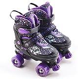 The Magic Toy Shop Kids Adjustable 4 Wheel Purple Quad Roller Skates Boots Childrens Rollers Medium UK Shoe Size 2-4