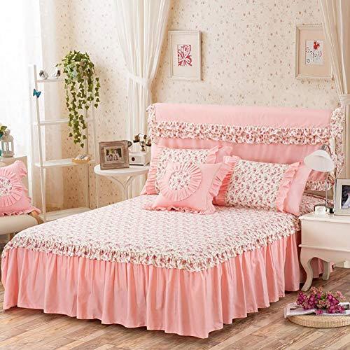 Baumwolle Bett Rock, Bett Volant Tagesdecke Mit rüschen Vervierfachen Falten Hotel qualität Faltenresistent und ausbleichen beständig-D 1xKopfkissenbezug 50x50cm