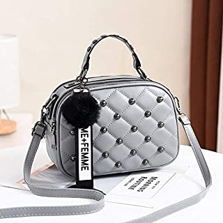 Redland Art Vioaplem Fashion PU Leather Cute Top Handle Bag Shoulder Corssbody Messenger Handbag for Ladies (Color : Grey)