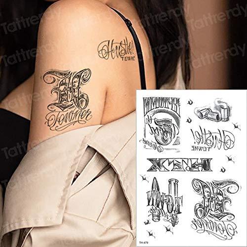 Handaxian 3pcs Impermeabile Tatuaggio Adesivo Uccello Lettera Nero Tatuaggio Gamba Coscia Tatuaggio Collo Braccio Braccio Applique Tatuaggio