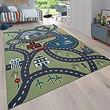 Paco Home Kinder-Teppich, Spiel-Teppich Für Kinderzimmer, Mit Straßen-Motiv, In Grün, Grösse:120x160 cm