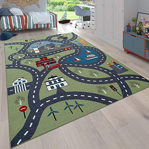 Paco Home Kinder-Teppich, Spiel-Teppich Für Kinderzimmer, Mit Straßen-Motiv, In Grün, Grösse:140x200 cm