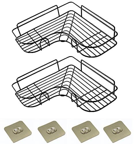 ZOSEO - Estantería esquinera de ducha ajustable de acero inoxidable 304, estante de baño esquinero, sin perforar, montado en la pared, cesta triangular para baño, baño, baño,...