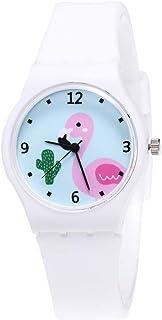 NICERIO Relógio de Quartzo para Meninas – Relógio de pulso com mostrador de flamingo rosa e pulseira de silicone analógic...