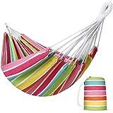 INNO STAGE Hamaca brasileña para interiores, hamaca extragrande de de lona de algodón con bolsa de transporte para patio, porche, jardín, patio trasero, descansar al aire libre e interior