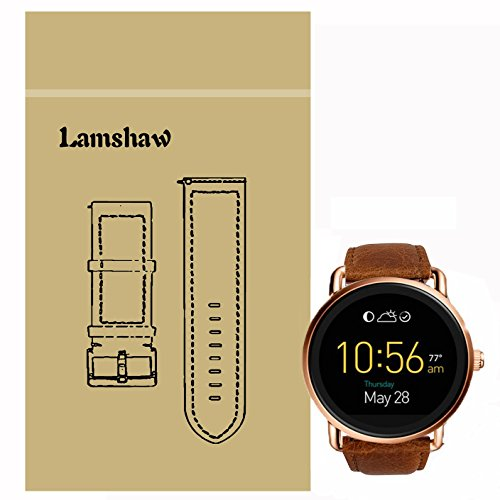 Lamshaw Leather Strap Replacement Band for Fossil Q Wander Smartwatch Strap (Brown)