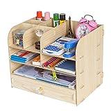 Mnjin Stockage de fichiers en Bois, Porte-journaux de Bureau, tiroir, Organisateur de Papeterie, fichiers de...