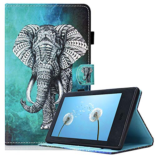 "Billionn Hülle für All-New Amazon Fire 7 (5th Gen, 2015 Modell), Niedlich Schlank PU Leder Weiches TPU Inner, Ständer Smart Cover für Kindle Fire 7"", Milder Elefant"