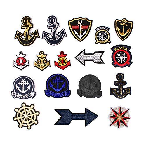 Hierro en Parches Ropa Parches Parches bordados,para la reparación/DIY camisetas, jeans, ropa, bolsos y otros textiles, 17pcs set de serie de anclaje marinero