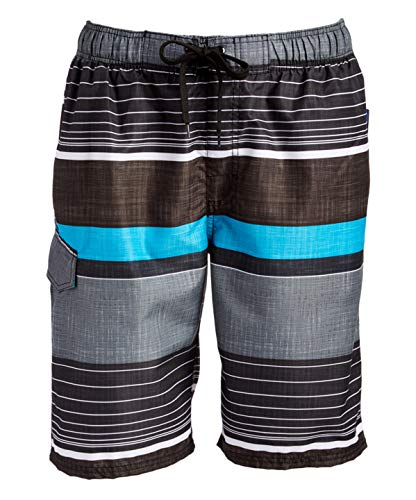 Kanu Surf Men's Barracuda Swim Trunks (Regular & Extended Sizes), Viper Black, Medium