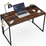 Folding Desk 40 Inch Small Computer Desk Foldable Home Office Desks for Small Spaces Simple Collapsible Study Writing Desk No Assembly Compact Laptop Gaming Table with Black Fold Up Metal Brown