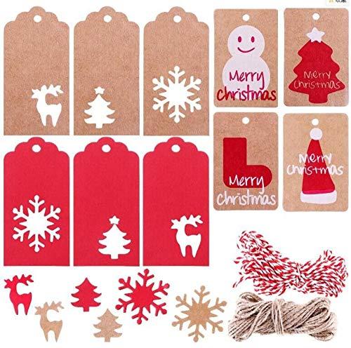 200PCS Etiquetas de regalo Etiqueta de papel Kraft Etiqueta colgante Árbol de Navidad Etiqueta