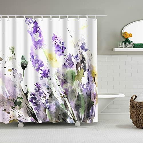 3D Blume Plum Blossom Lotus Lavendel Rose Duschvorhang Badezimmer Vorhang Garn Wasserdichter Polyester Badvorhang mit Haken (Color : 3, Size : 90 * 180cm)