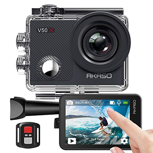 AKASO Action Cam/Onderwatercamera 4K Wifi 40 M IJS anti-shake Action Camera 4X Zoom met touchscreen, afstandsbediening, sportcamera waterdichte behuizing, helmaccessoireskit V50X
